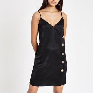 NWT ASOS BLACK SLIP DRESS WITH BUTTONS